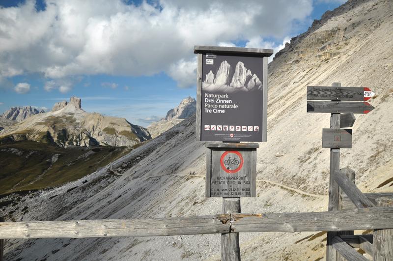 Koniec szlaku Tre Cime di Lavaredo