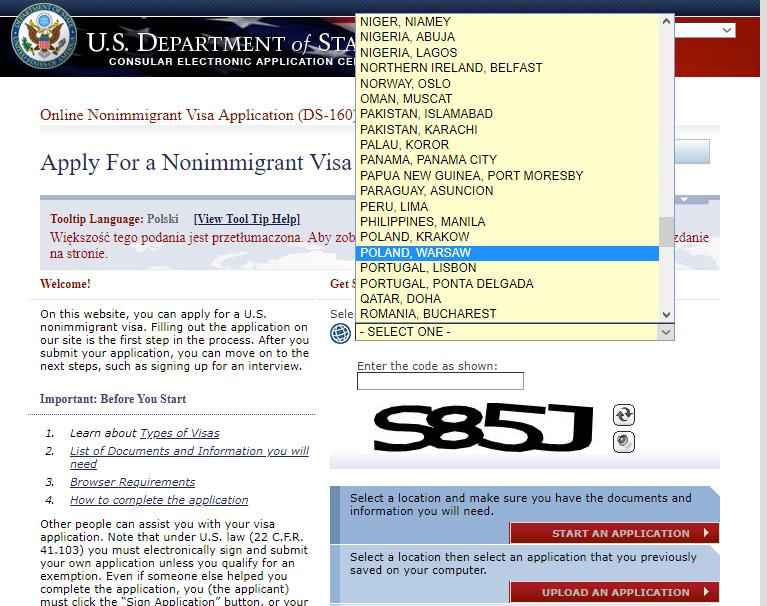 formularz ds-160