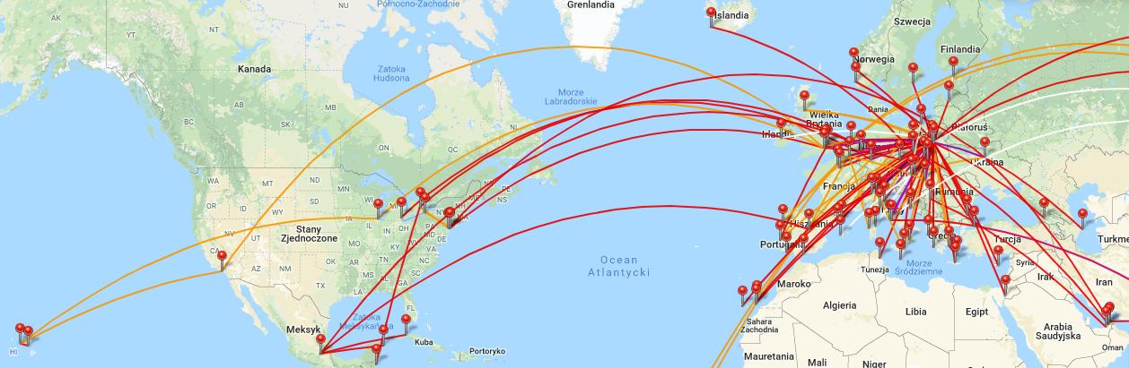 mapa wyjazdów
