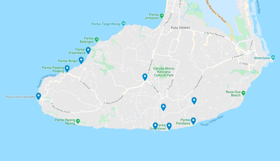 Uluwatu Mapa