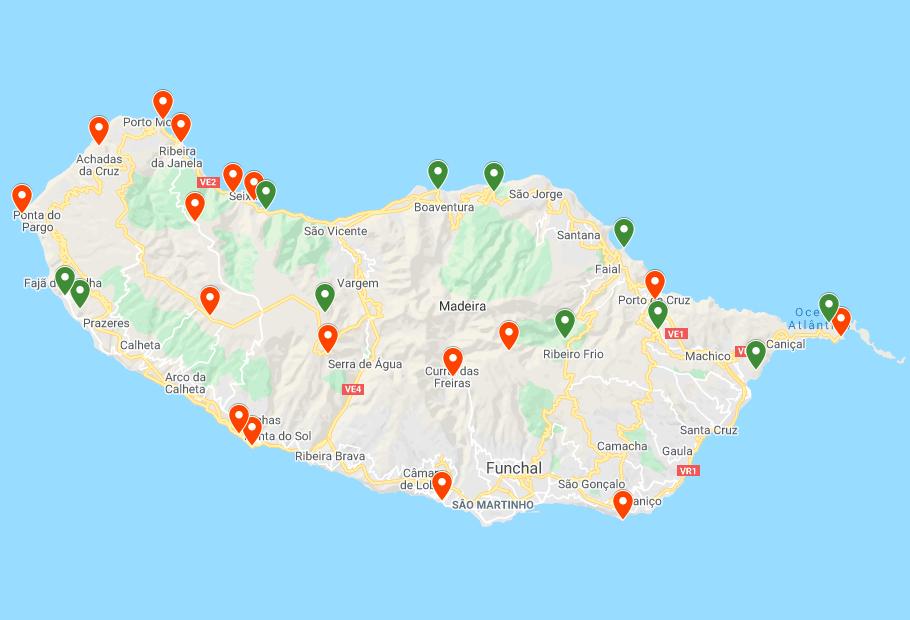 Madera mapa zwiedzania