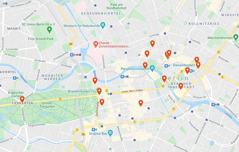 Atrakcje Berlina mapa