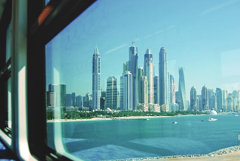 Wyspa Palmowa widok na Dubaj Marina